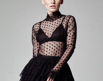 073691bb4a894 Mesh Top Polka Dot Top Women Blouse Black Sheer Blouse See