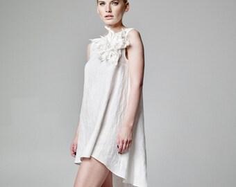 ebffa64d33 White Linen Dress Linen Wedding Dress Boho Wedding Dress