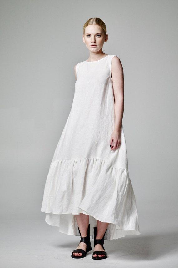 White Linen Dress White Boho Dress Boho Wedding Dress Boho | Etsy