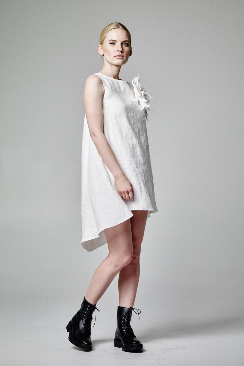 8a4e0ae039 White Dress Linen Dress Short Wedding Dress Asymmetric