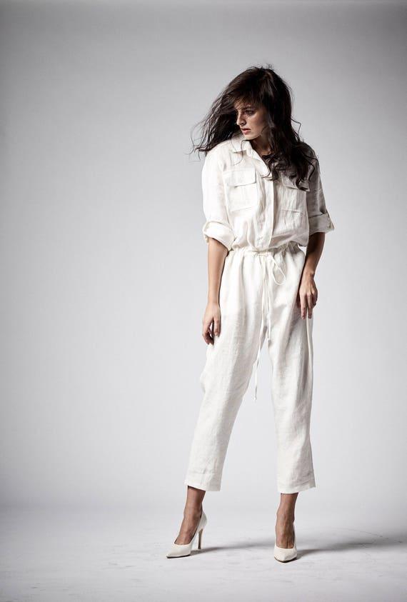 3e72ab3653c Linen Jumpsuit White Jumpsuit Women Overall Maxi Jumpsuit