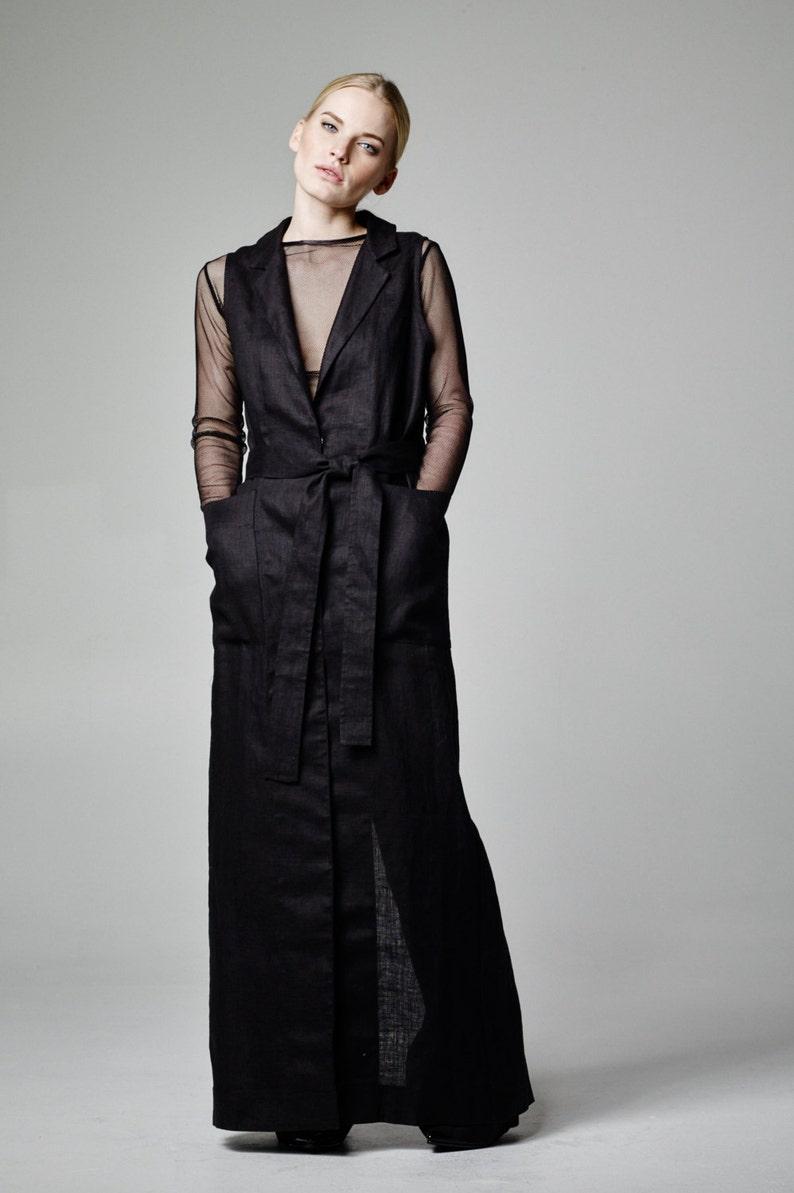 79c78912f1 Linen Dress Black Linen Coat Black Linen Jacket Black Vest