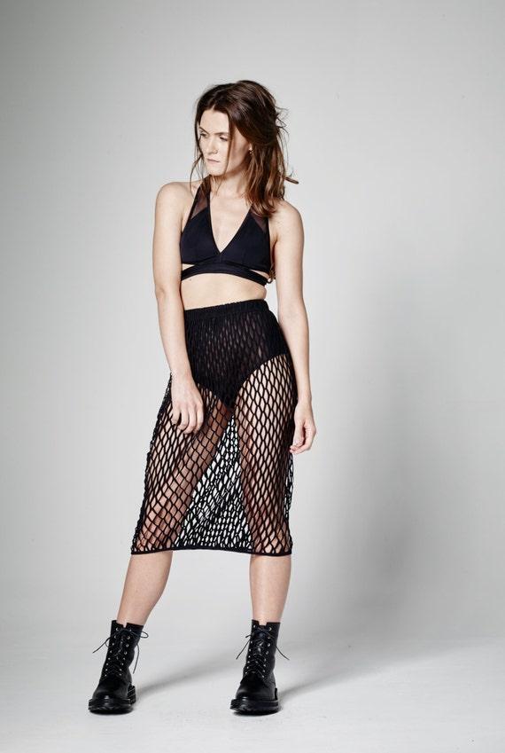 nouvelle arrivee 763af 0a6d7 Jupe mi-longue noir, jupe taille haute, jupe en maille, jupe noir Sexy,  jupe transparente, partie jupe en jupe, jupe gothique, haute couture, BDSM  ...