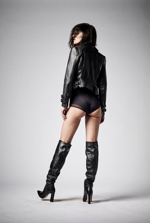 Black leather booties for women sexy