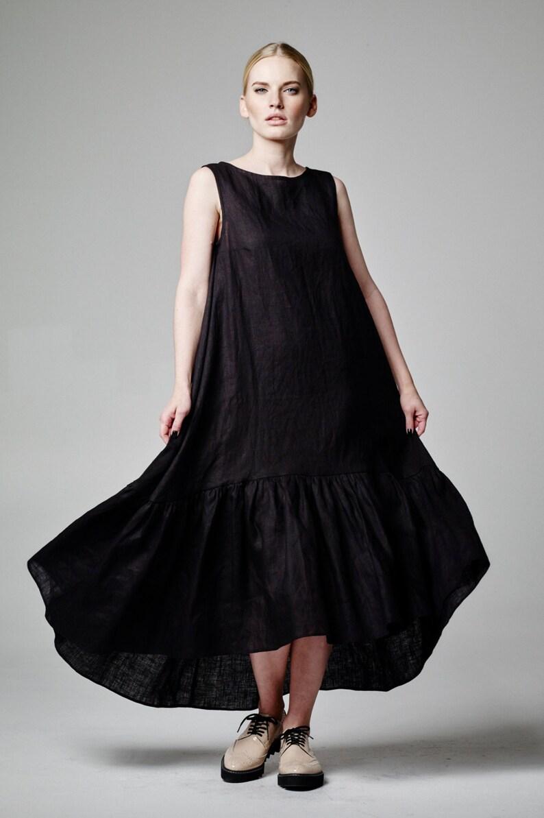 d63aa7fe960 Linen Maxi Dress Black Linen Dress Long Linen Dress Loose