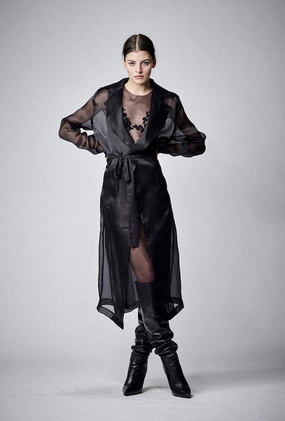 Black Sheer Dress Sexy Black Dress Plus Size Dress Organza Etsy