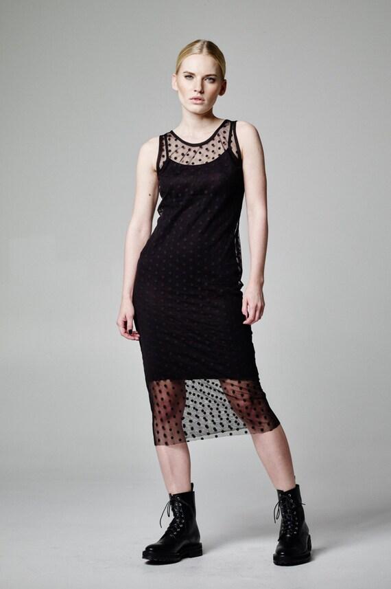 Black Tulle Dress See Through Dress Polka Dot Dress Sheer Etsy