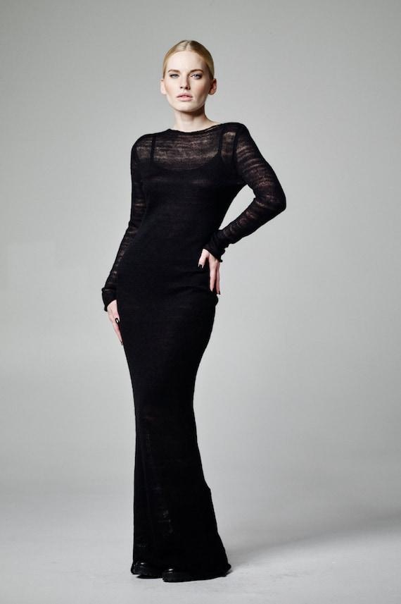 Black Mohair Dress Black Maxi Dress Long Black Dress Sheer Etsy