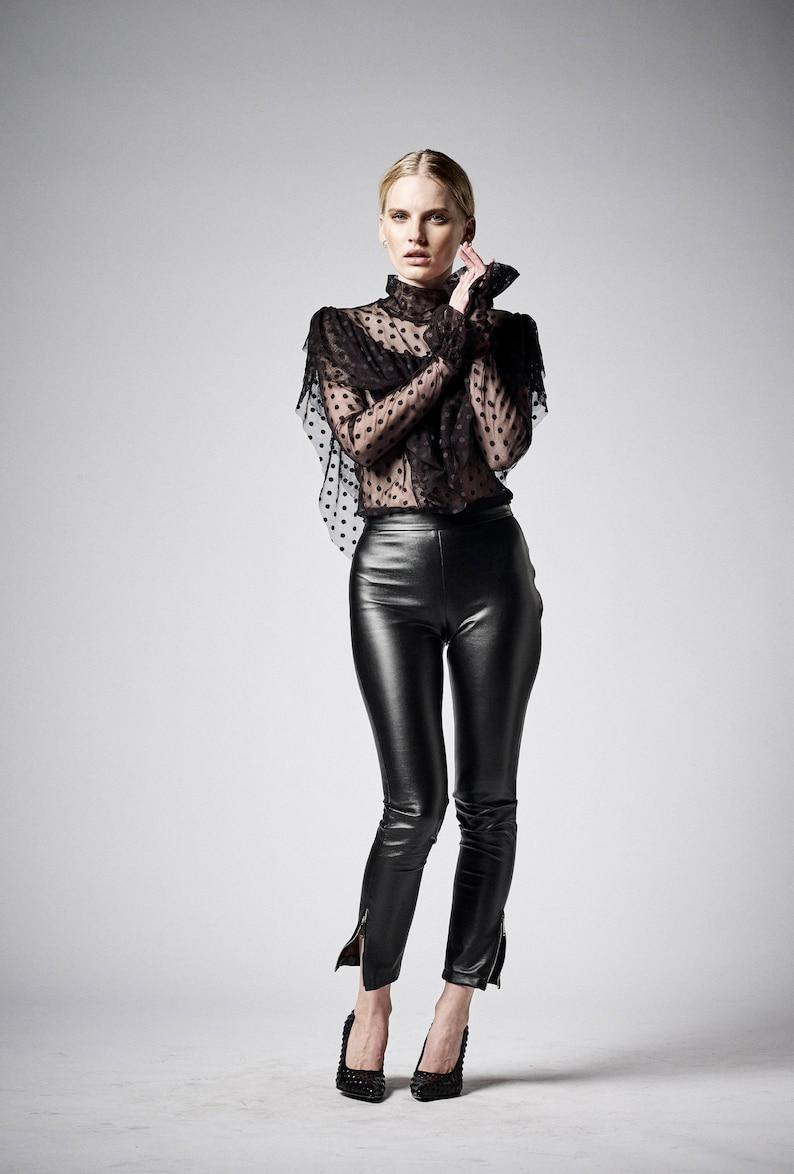 561b565c971229 Black Faux Leather Pants Vegan Leather Leggings High Waist | Etsy