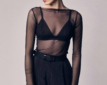 Black Mesh Top, Tulle Transparent Blouse, Sheer See Through Shirt