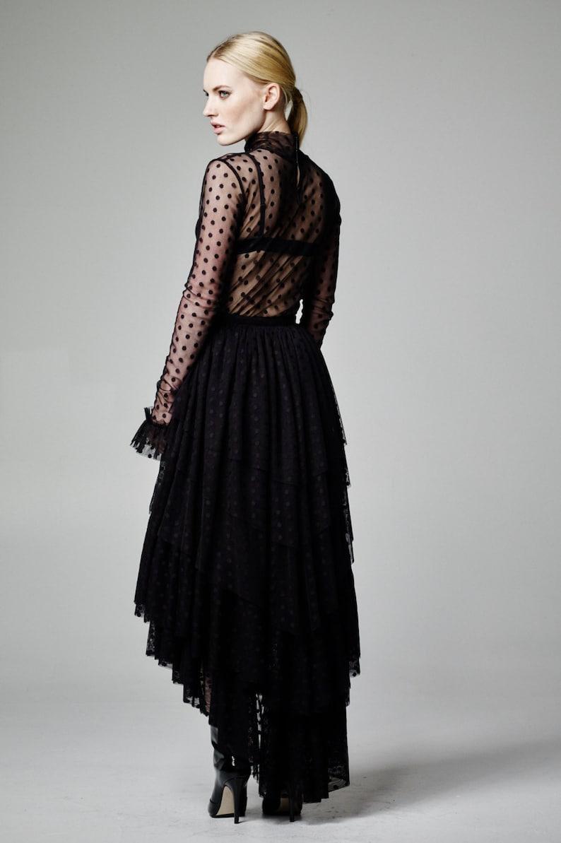 02c5380aa65d6 Black Tulle Top Sheer Top Long Sleeve Top Polka Dot Mesh