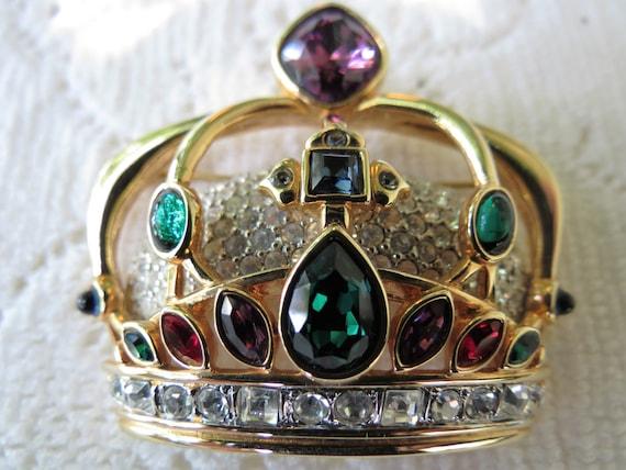 Swarovski Crown Pin - Signed Rhinestone Crown Broo