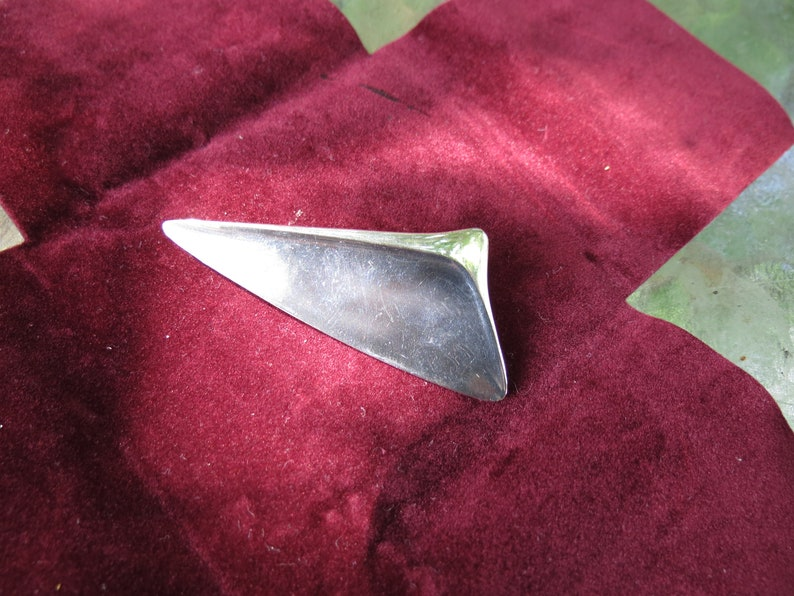Signed Denmark Jewelry Georg Jensen Sterling Silver Mid Century Brooch with Box