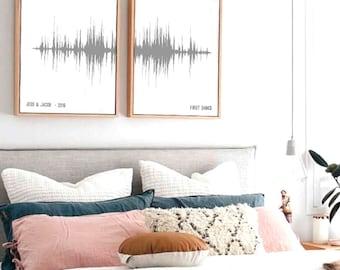 Two Piece Set Custom Sound Wave Art, Sound Wave Art Prints, Custom Soundwave Prints, Voice Art, Song Art, Sound Art, Techie, Tech Gifts