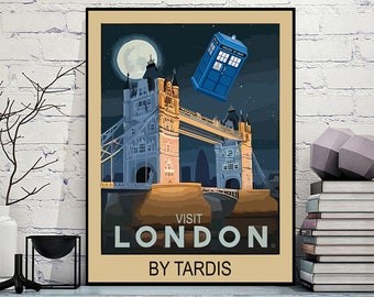 Visit London By Tardis Cool Vintage Style Who Travel Art Poster Print - Cool Geeky Sci-Fi Gift