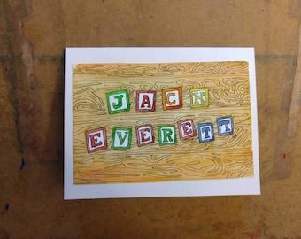 Baby card- announcement shower - blocks - alphabet - gift card holder or for framing 4x6