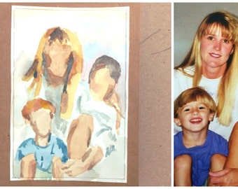 Custom Original Family couple person Water Color Painting 4x6 5x7 (Greeting Cards or for framing)