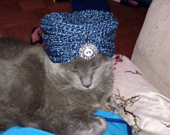 LARGE Custom Fancy Turban Cat/dog Hat, perfect for Christmas/Holidays