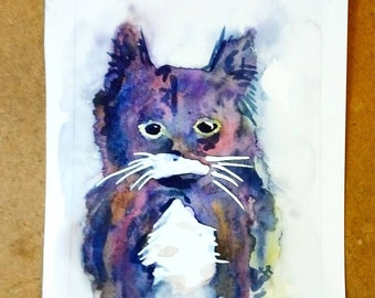 Custom Original Animal or landscape Water Color Painting (Greeting Cards of Cats, dogs and other pets--use other listing for people please)