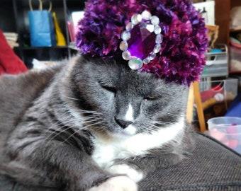Custom Fancy FUZZY Turban Cat Hat, perfect for Christmas/Holidays