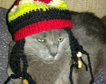 Cat or dog Hat/Wig--rastafarian bob marley rasta dreadlocks hat with wooden beads