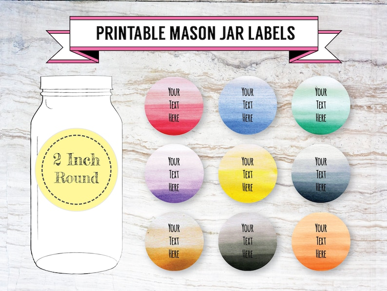 picture regarding Printable Labels for Jars named Printable Do-it-yourself Ombre Mason Jar Labels, Canning Labels, 9 Options, 2 Inch Spherical Labels, Editable, PDF, DOCX