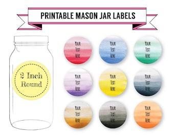 Printable DIY Ombre Mason Jar Labels, Canning Labels, 9 Designs, 2 Inch Round Labels, Editable, PDF, DOCX