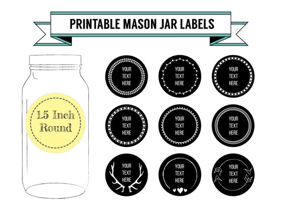 printable diy chalkboard mason jar labels canning labels 9 etsy