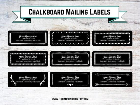 DIY Chalkboard Mailing Labels, Address Labels, Editable, Label Template,  DOC, PDF