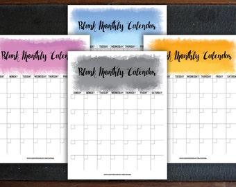 DIY Printable Blank Monthly Calendar, Editable Watercolour Monthly Calendar, Four Colours, Letter Sized, PDF, DOCX
