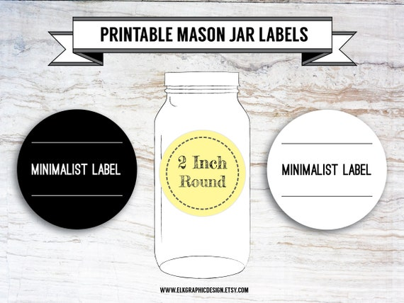 picture relating to Printable Mason Jar Labels titled Printable Do-it-yourself Minimalist Spherical Labels, Mason Jar Labels, Canning Labels, 2 Inch Spherical, Editable, PDF, DOCX