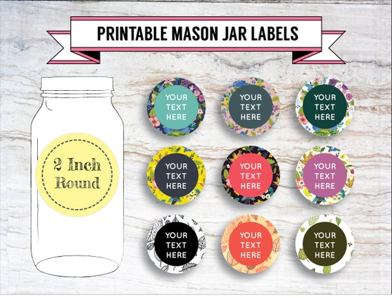 graphic relating to Printable Mason Jar Labels identify Printable Do it yourself Florals Foliage Mason Jar Labels, Canning Labels, Get together Labels, 9 Models, 2 Inch Spherical Labels, Editable, Document, PDF