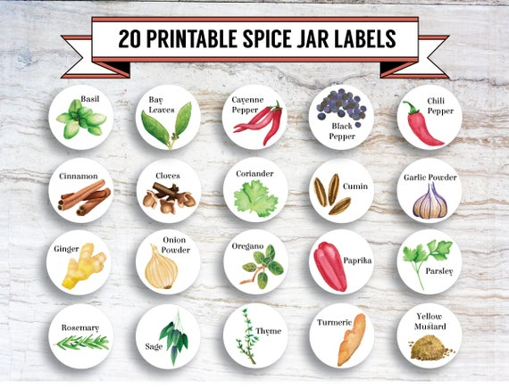 image about Printable Spice Jar Labels named Printable Do it yourself Watercolour Spice Jar Labels, 20 Labels, 1.5 Inch Spherical, PDF