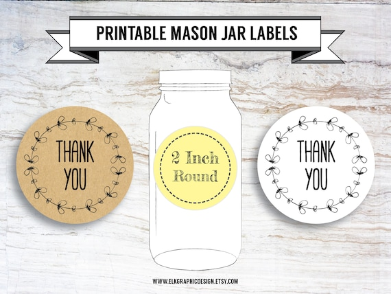 picture about Printable Mason Jar Label identify Printable Do it yourself Thank By yourself Stickers, Thank Your self Tags, Mason Jar Label, White  Kraft, 2 Inch Spherical, Entire Sheet, PDF