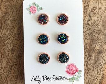 8mm druzy stud earrings, rose gold Druzy earrings  ,silver Druzy earrings