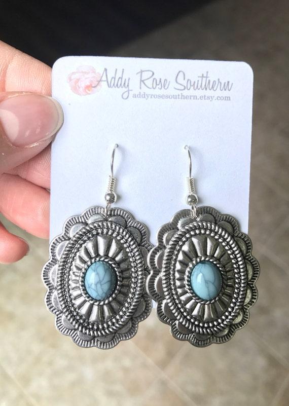 Concho Earrings Silver Dangle