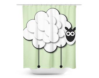 Green Shower Curtain Sheep Kid Fun White Custom Two Sizes