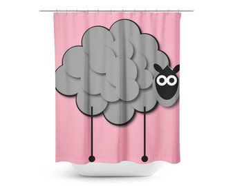 Pink Shower Curtain Sheep Kids Gray Bath Decor Two Sizes Available