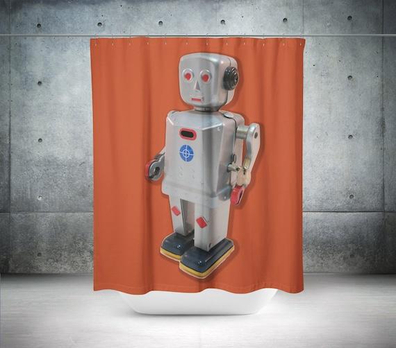 Orange Shower Curtain Robot Kid