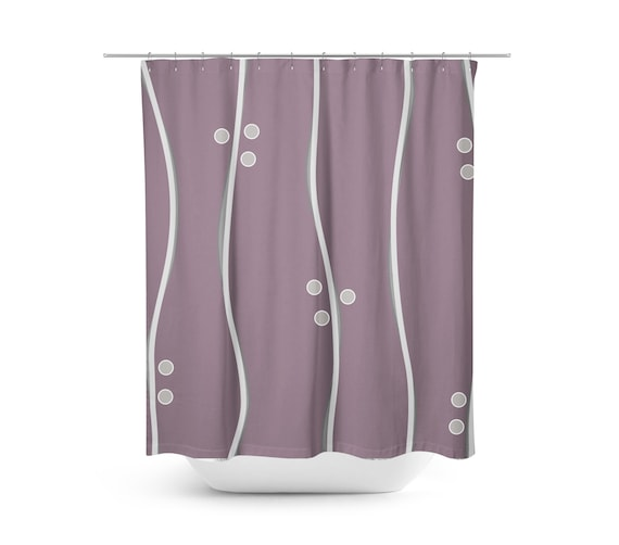 Purple Shower Curtain Modern Striped
