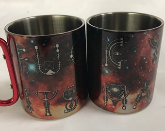 Fuck You Its Magic - Stainless Steel Mug with Carabiner Clip Handle / Burning Man / Festivals / Ascend Expand