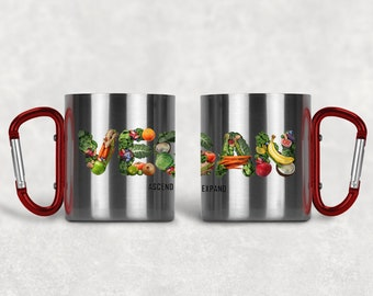 VEGAN - Stainless Steel Mug with Carabiner Clip Handle / Animal Rights / Activist / Healthy / Fruits / Veggies