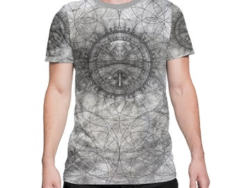 Arkitect -  All Over Print Tee -  Mason / Alchemy / Geometric / Architect / Flower of Life Festival Clothing