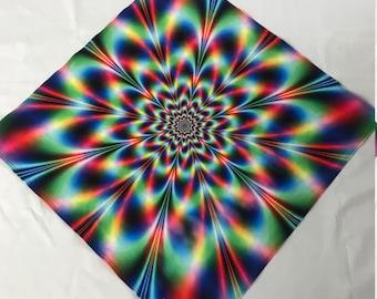 "Rainbow Burst BANDANA - 24""  Bandana - Recycled Fabric / Ascend Expand / Psychedelic / Trippy / Rainbow"