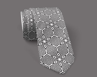 Vortex Optical GRID - Neck Tie - Sacred Geometry - Ascend Expand / Psychedelic / Geometric Pattern / Gifts / Illusion