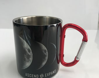BIG Moon Phase - Stainless Steel Mug with Carabiner Clip Handle / Burning Man / Festivals / Ascend Expand