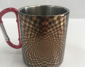 Gold Radiance - Stainless Steel Mug with Carabiner Clip Handle / Burning Man / Festivals / Albert Hofmann / LSD / Rainbow