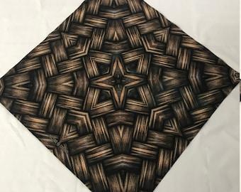 """Wood Basket Weave BANDANA - 23""""  Bandana - Recycled Fabric / Ascend Expand / knotwork / Maze / Pattern"""