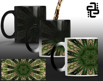 Green Fractal Flower -Morphing Mugs-  Color Changing Mugs - Ascend Expand