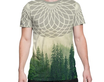 Ascending Forest -  All Over Print Tee -  Trees / Nature / Forest / Geometric - Festival Clothing
